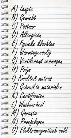 Matras aanschaf lijstje