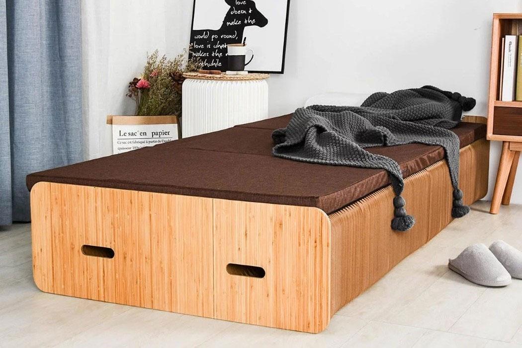 Een volledige opvouwbaar bed van papier en karton? Ja, het kan echt!