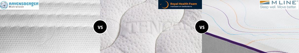 Wat zijn de verschillen tussen Ravensberger, M-line, RHF Royal Health Foam matrassen?